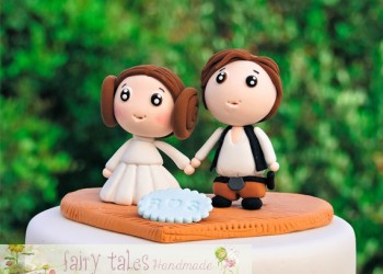wedding cake topper han solo and princess leia